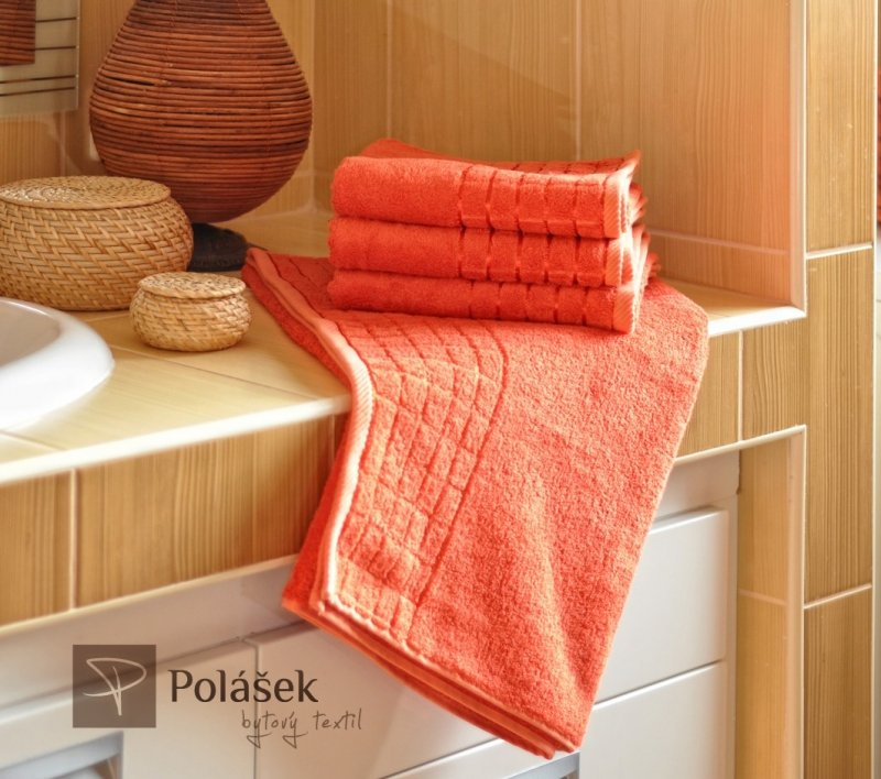 Polášek Holešov Bambus terakota Oranžová 60% bambus + 40% bavlna Ručník 50x100