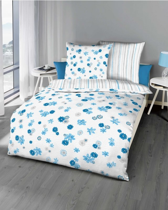 Polášek Holešov Povlečení krep Mia 876/51 100% bavlna Modrá květiny pruhy 140x200 / 70x90