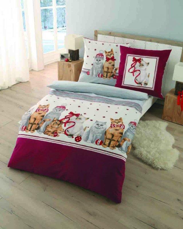 Polášek Holešov Povlečení Kaeppel FL Christmas Cat 878/22 Červená 100% bavlna Šedá zvířátka 140x200 / 70x90