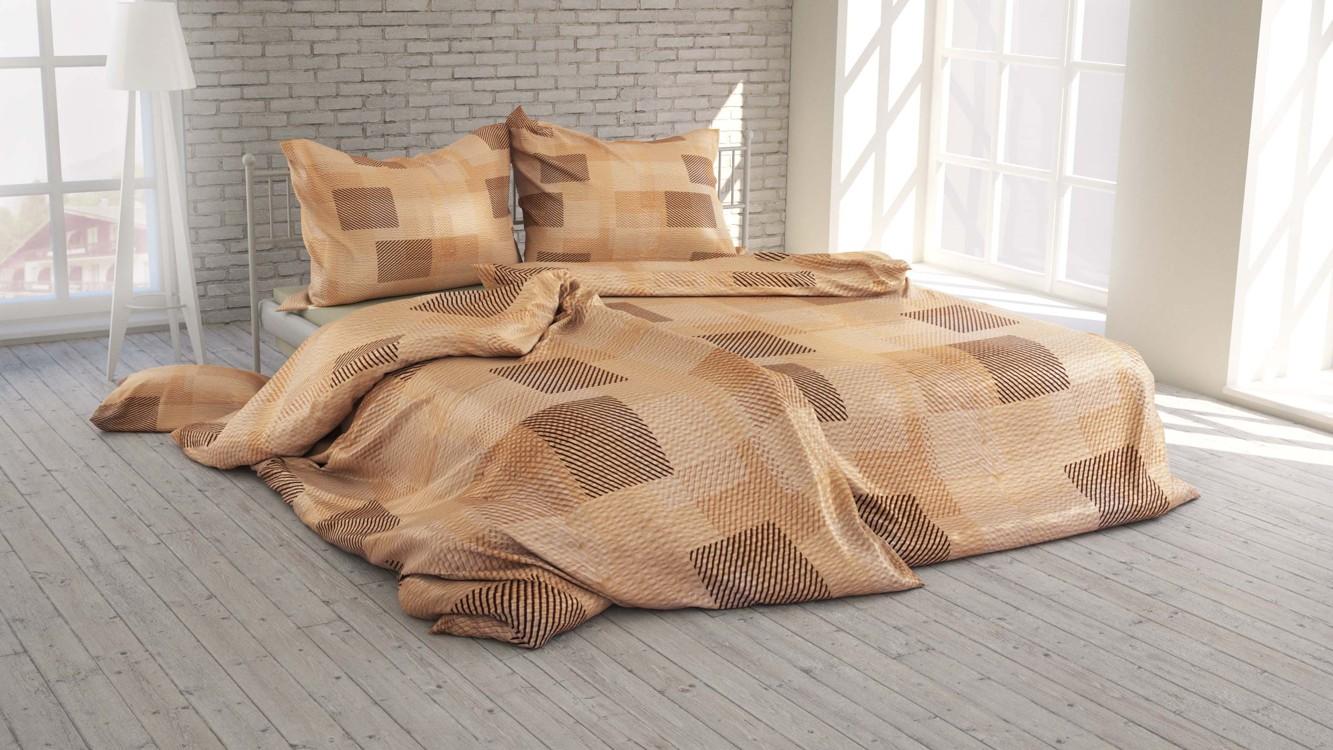 Polášek Povlečení Káro béžové krep 100% bavlna 140x200 / 70x90